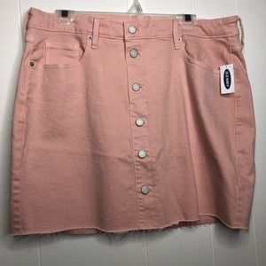 NWT Old Navy pink Button fly mini skirt. Size 14
